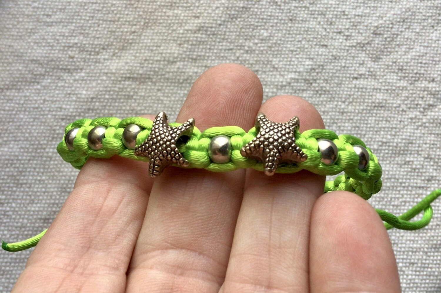 Bracelet: Woven Lime Green With Starfish
