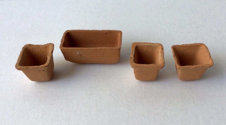 Miniature Furniture: Three Square & One Rectangular Clay Pot