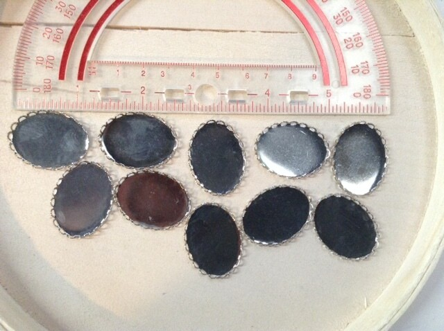 Oval Cabochon Holders / 10 pieces / Metal