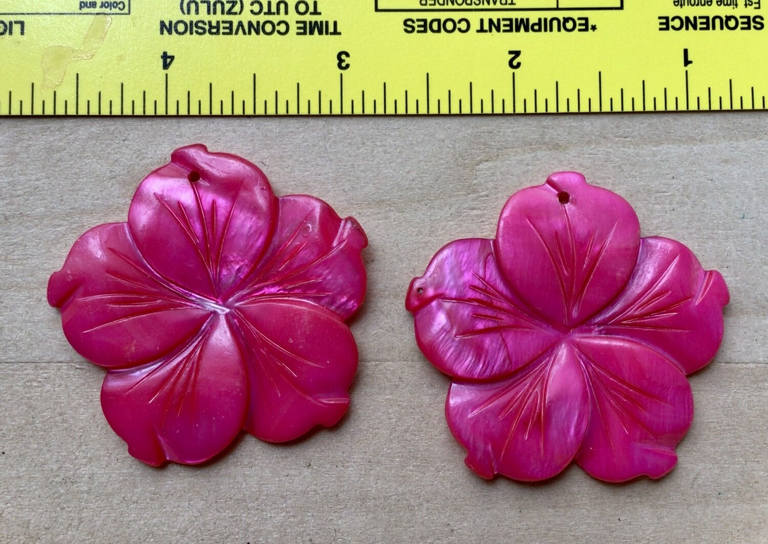 Beads: Two Bright Pink Shell Pendants