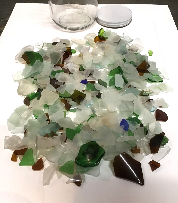 Large Glass Jar of Genuine Sea Glass