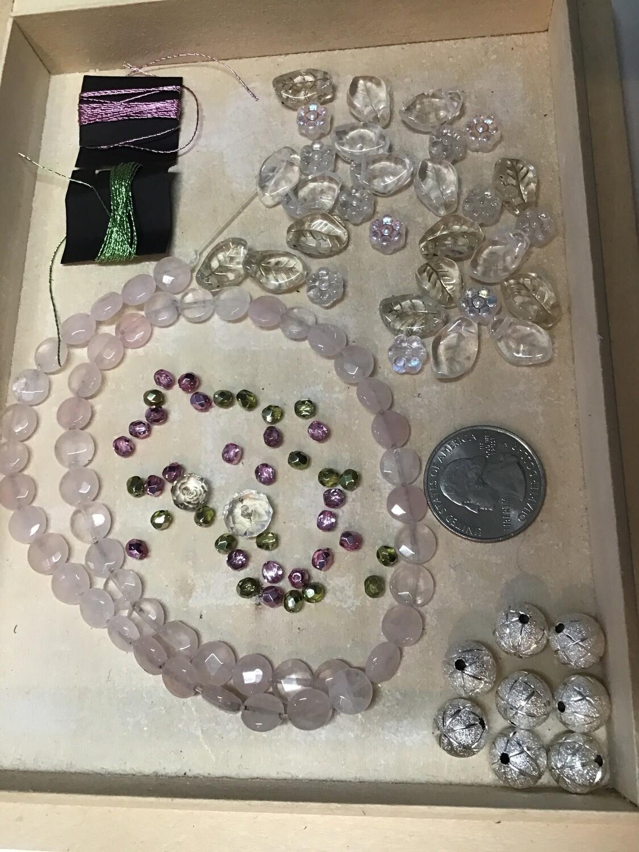 Beads: Rose quartz, glass, metal and ...