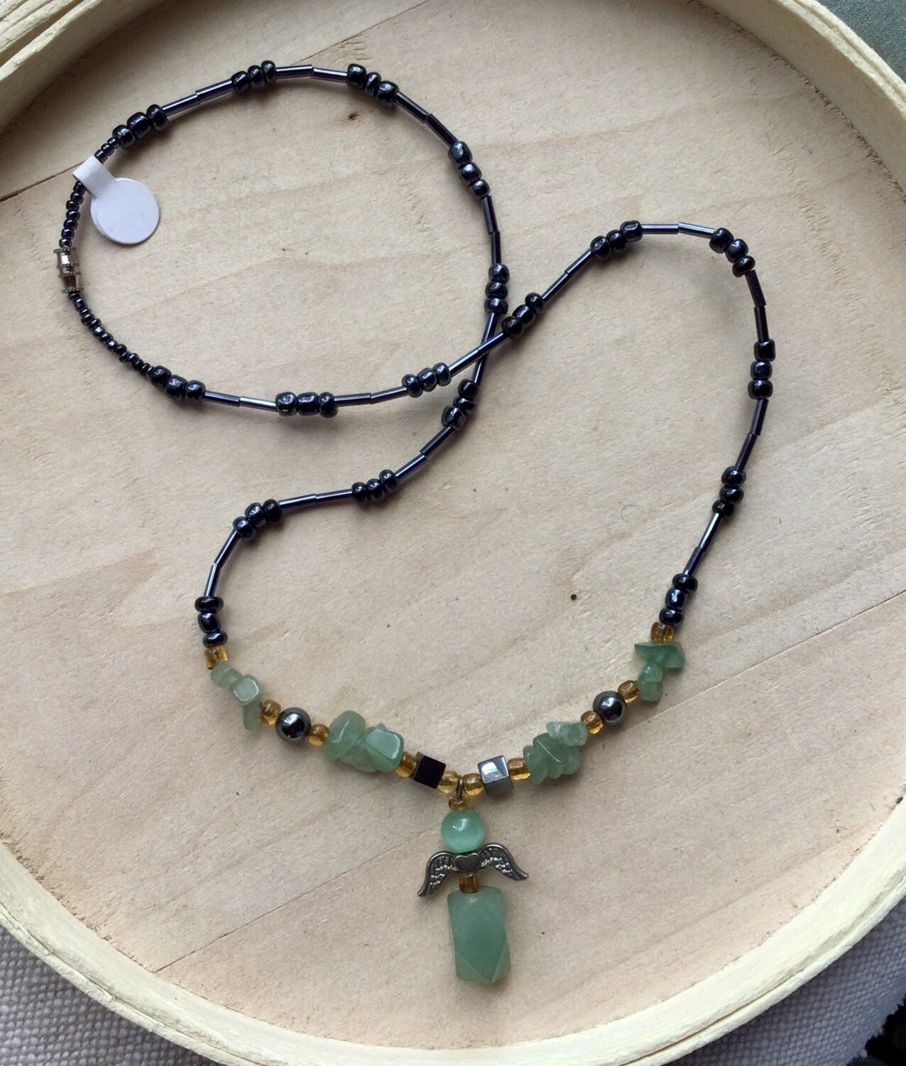 Necklace: Hematite & Aventurine Angel