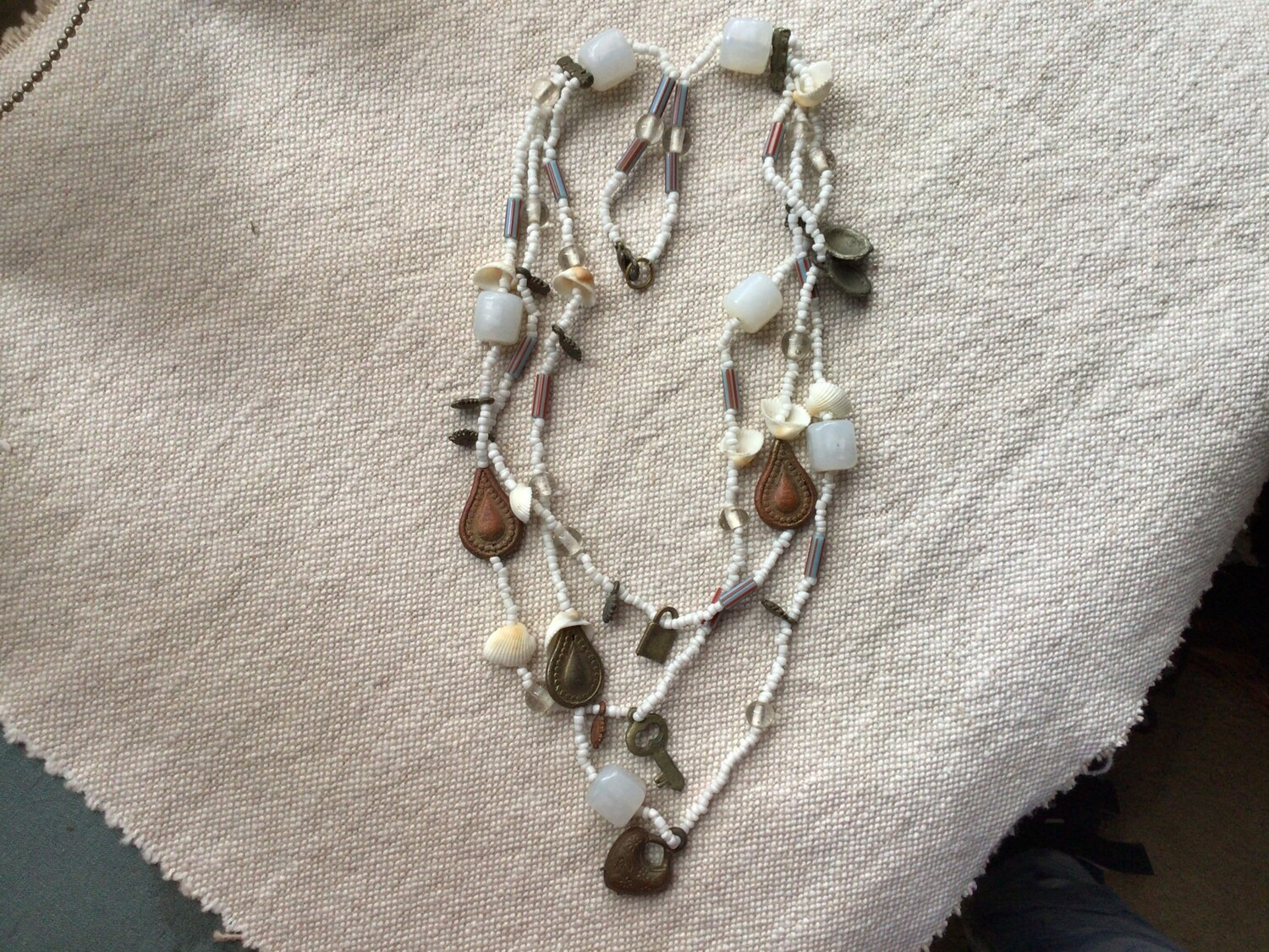 Necklace: Three Layers Stones Charms Shells