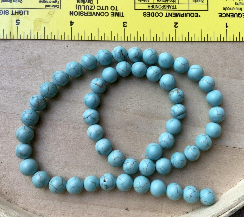 Beads: Imitation Round Turquoise
