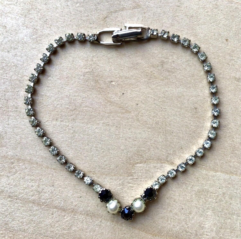 "Bracelet: Vintage Rhinestones 7"""
