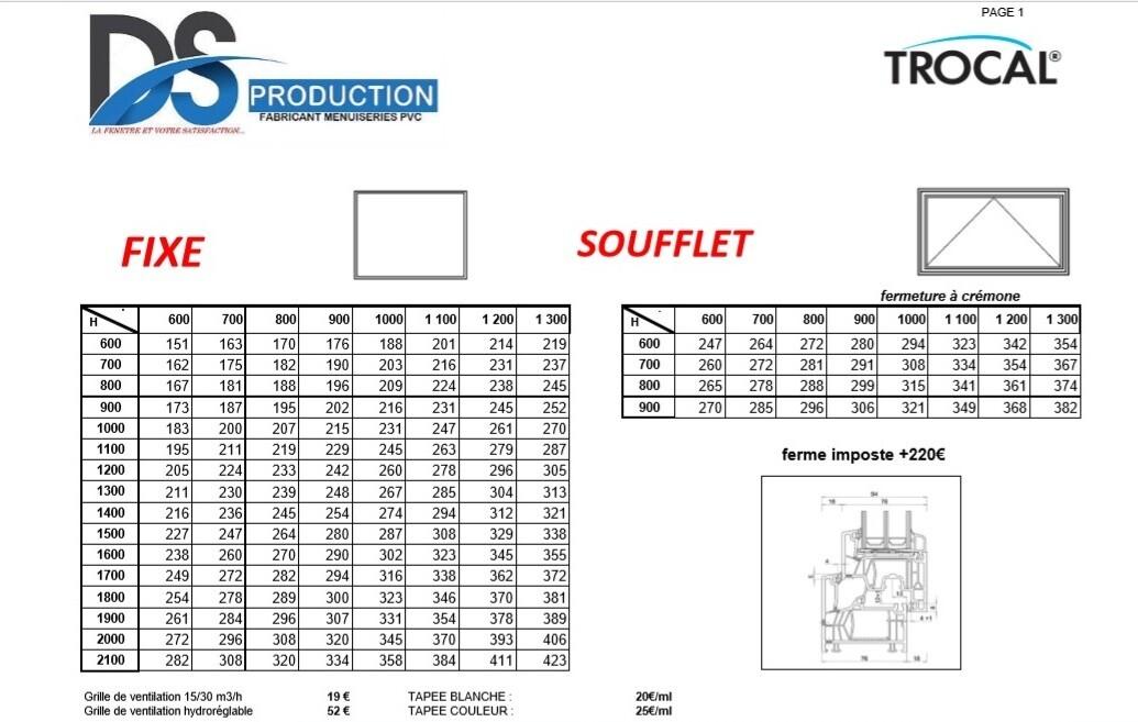FIXE et SOUFFLET PVC TROCAL 76mm