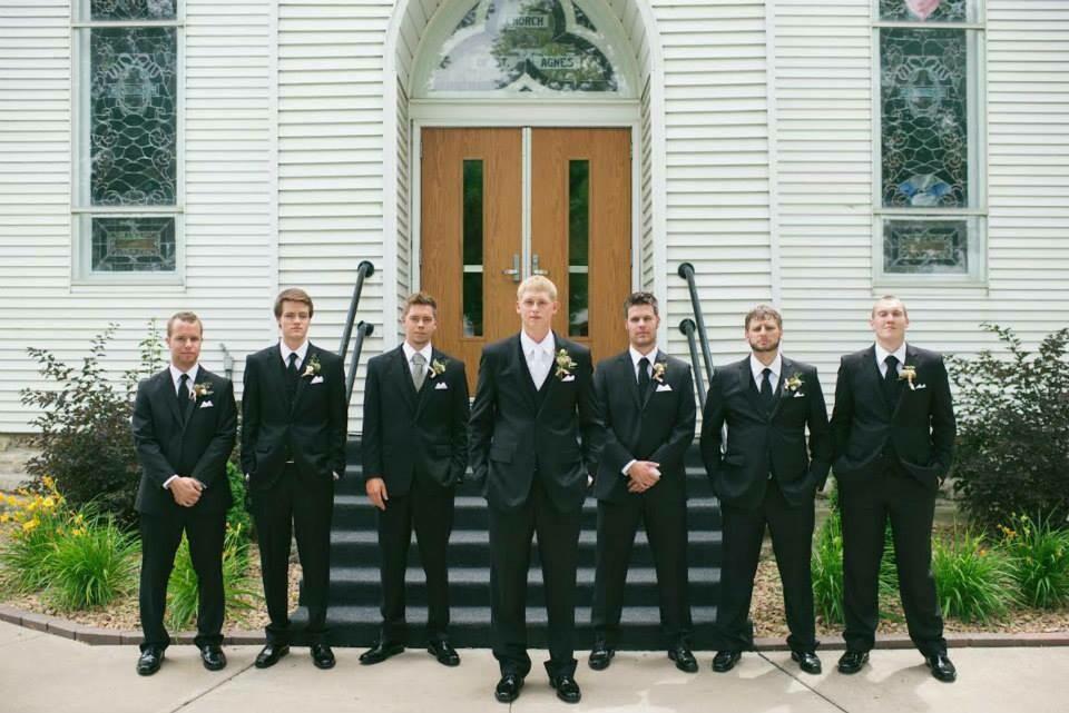 Wedding package Black suit, vest, pant, shirt, tie, pocket square
