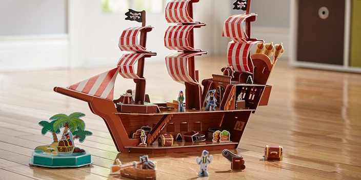 3-D Pirate Ship & Puzzle In One