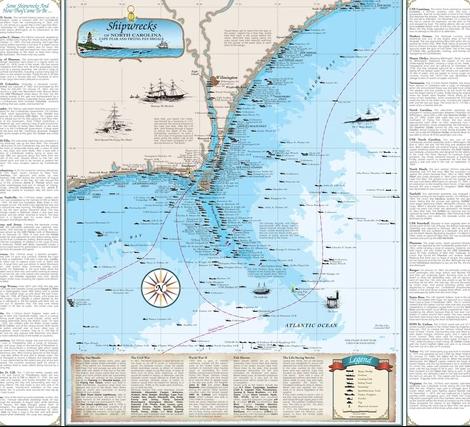 North Carolina Shipwreck Chart: Cape Fear and Frying Pan Shoals