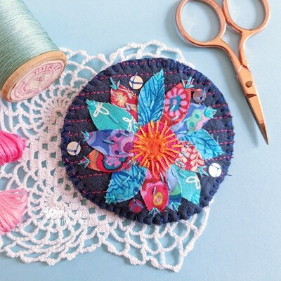 Blue and pink flower textile brooch
