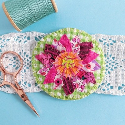 Green and pink flower textile brooch