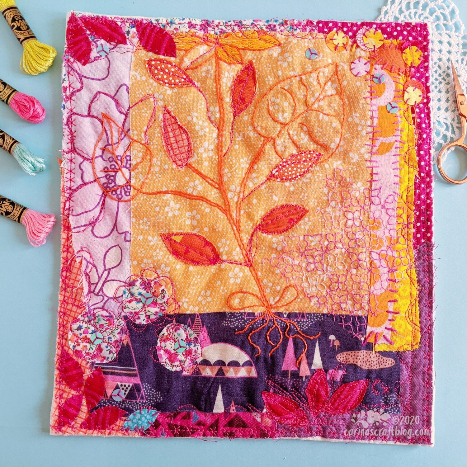 Orange and purples wall hanging