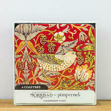 MORRIS&Co - Strawberry Thief Red Coasters Set of 6 Cork Backed - Pimpernel
