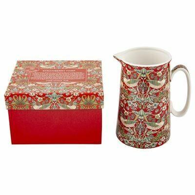 NOSTALGIC CERAMICS - Strawberry Thief Fine China Jug -RED (14cm)