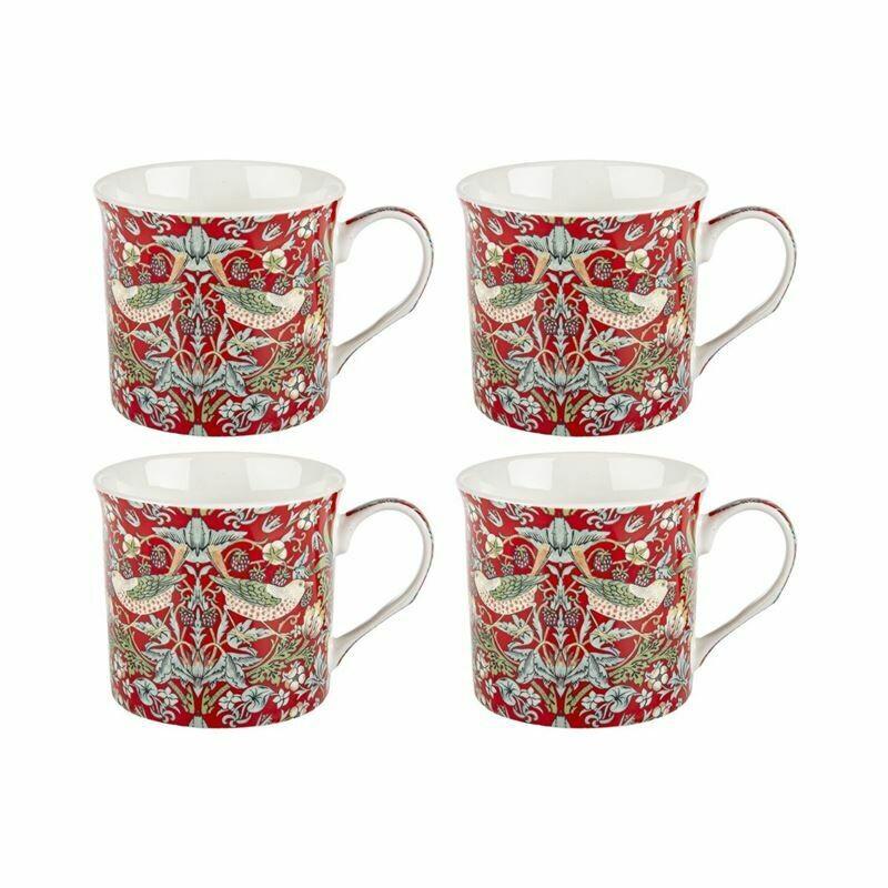 NOSTALGIC CERAMICS - stoke on trent - Fine China Strawberry Thief Mug 270ml Set of 4