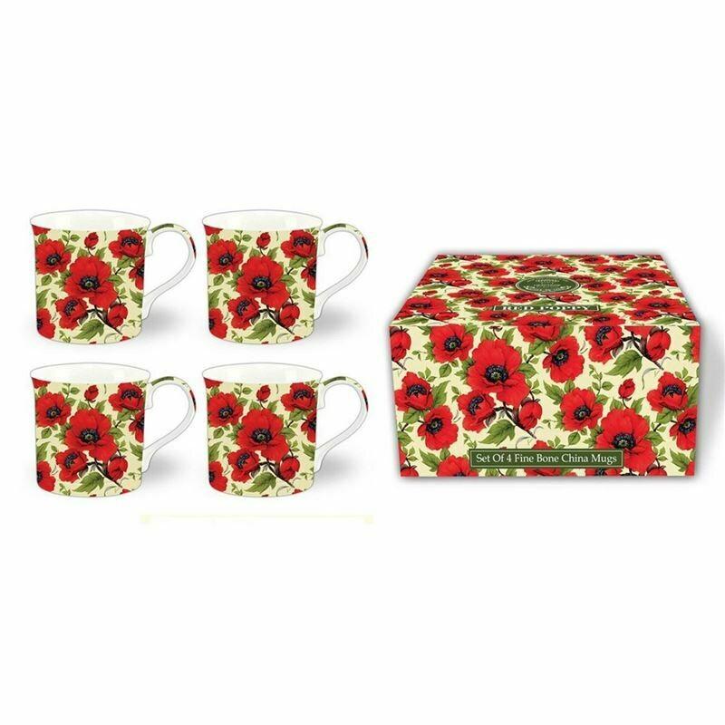 HERITAGE -  Fine Red Poppy Mug Set of 4