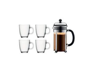 BODUM - Chambord Coffee Set - 8 cup French Press & 4 Coffee Mugs