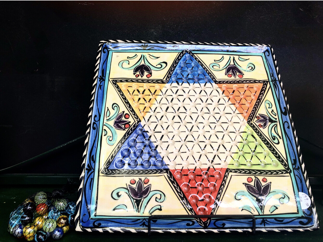 Hand painted stoneware Chinese checkers set by MARY-LOU PITTARD 32cm x 32cm