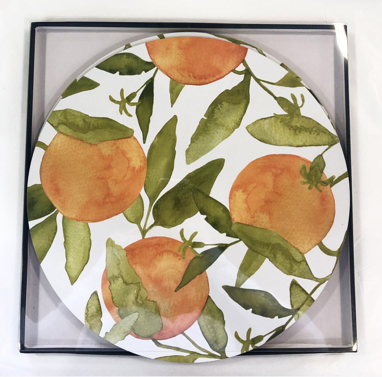 MADRAS LINK -  Oranges Round Placemats Set x 4  33 x 33cm