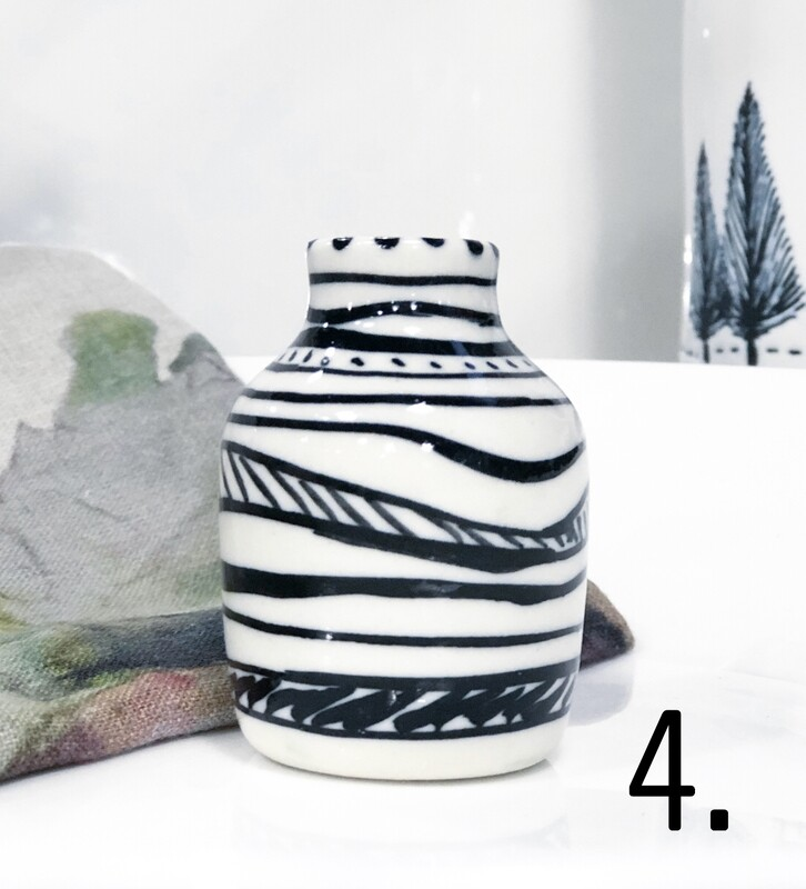 Mary-lou Pittard-Porcelain posy vases-Aust Natives 7cm/3cm approx