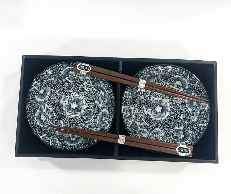 CONCEPT JAPAN  -ICHOU BLACK Set Of 2 Bowls and Chopstick Set 14.5cm