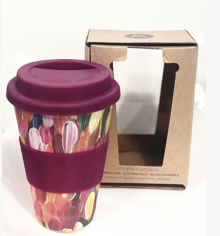 UTOPIA AUSTRALIA re-usable bamboo cup 14oz-Gloria Petyarre