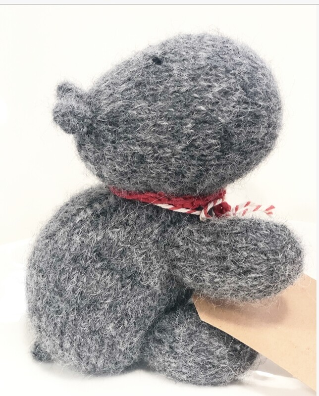 JENNY OCCLESHAW - hand knitted-Hippo 13cm