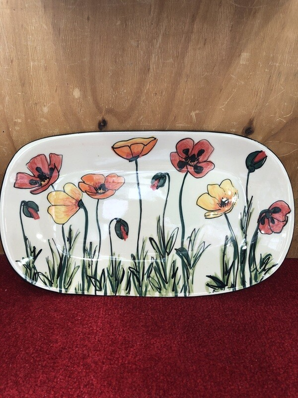 MARY - LOU PITTAR - Semi Oval Serving Dish  40cm x 22.2cm