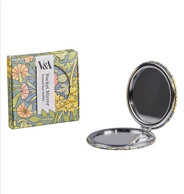 V&A Faux Leather Pocket Mirror-Double Bough