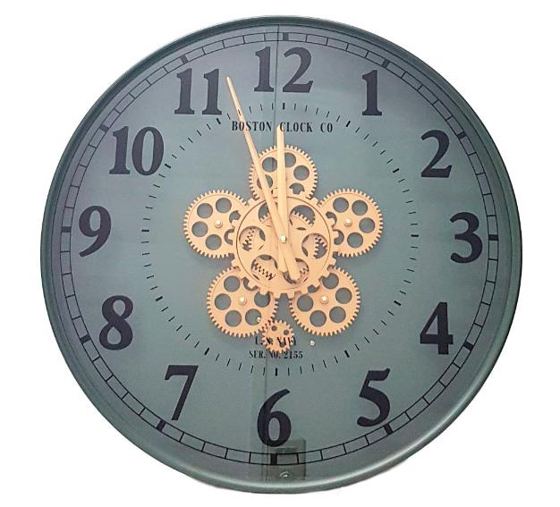 CHILLI TEMPTATIONS: Round Exposed Movement Gear Clock - Gun Metal Green Wash