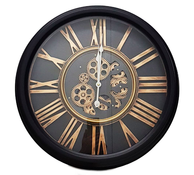 CHILLI TEMPTATIONS: Round William Exposed Gear Movement Wall Clock - Black