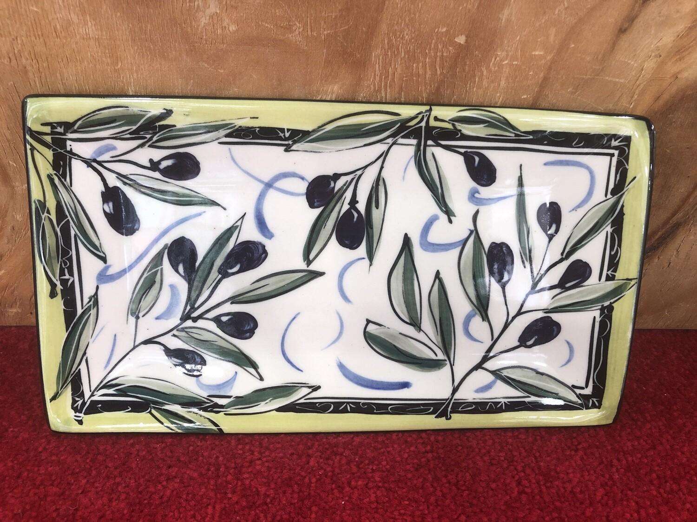 Mary-Lou Pittard- Rectangular Serving Platter- 19.50 x 16.8cm  Olive Design
