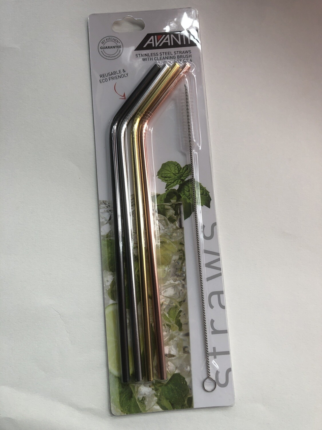 AVANTI Stainless Steel Straws with Cleaning Brush-Set of 4