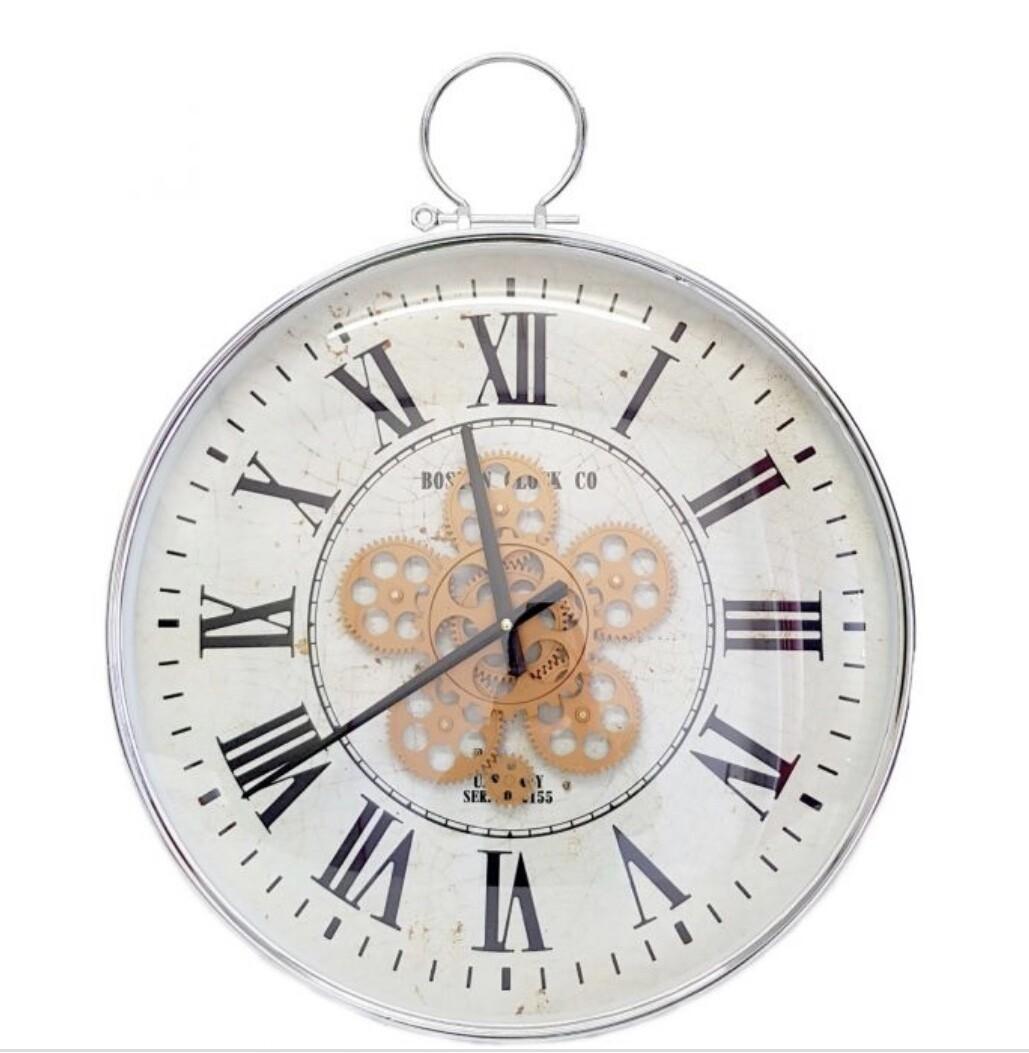 CHILLI TEMPTATIONS: Round Classic Boston Exposed Gear Movement Wall Clock - Silver