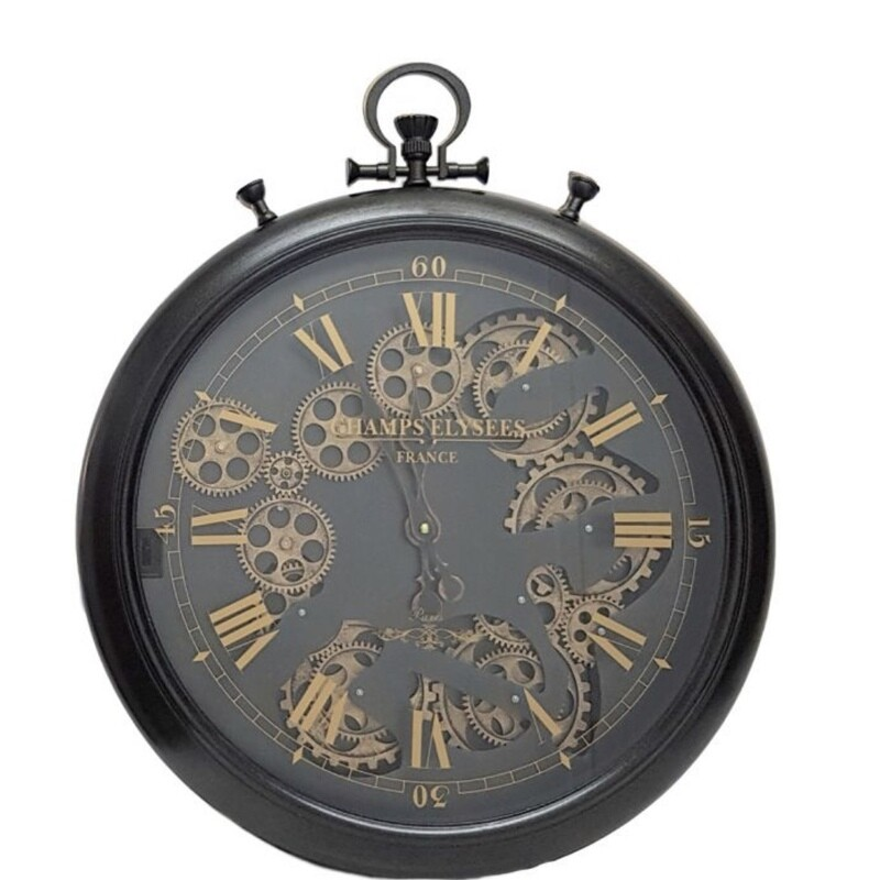 CHILLI TEMPTATIONS: French Chronograph Round Exposed Gear Movement Wall Clock - Black
