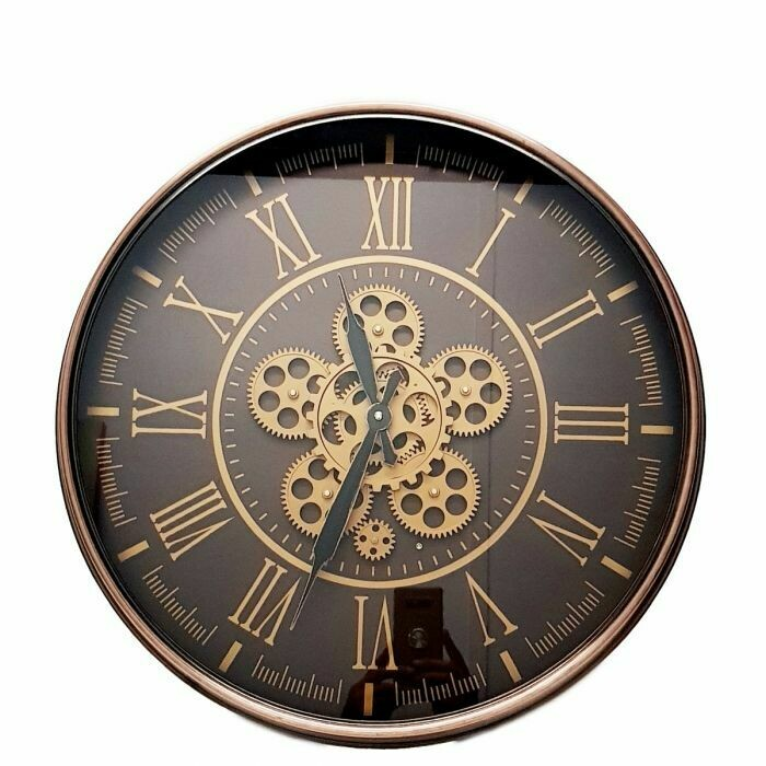 Y688 - CHILLI TEMPTATIONS: Round Hermes Exposed Gear Movement Wall Clock - Choc W/ Rose Gold