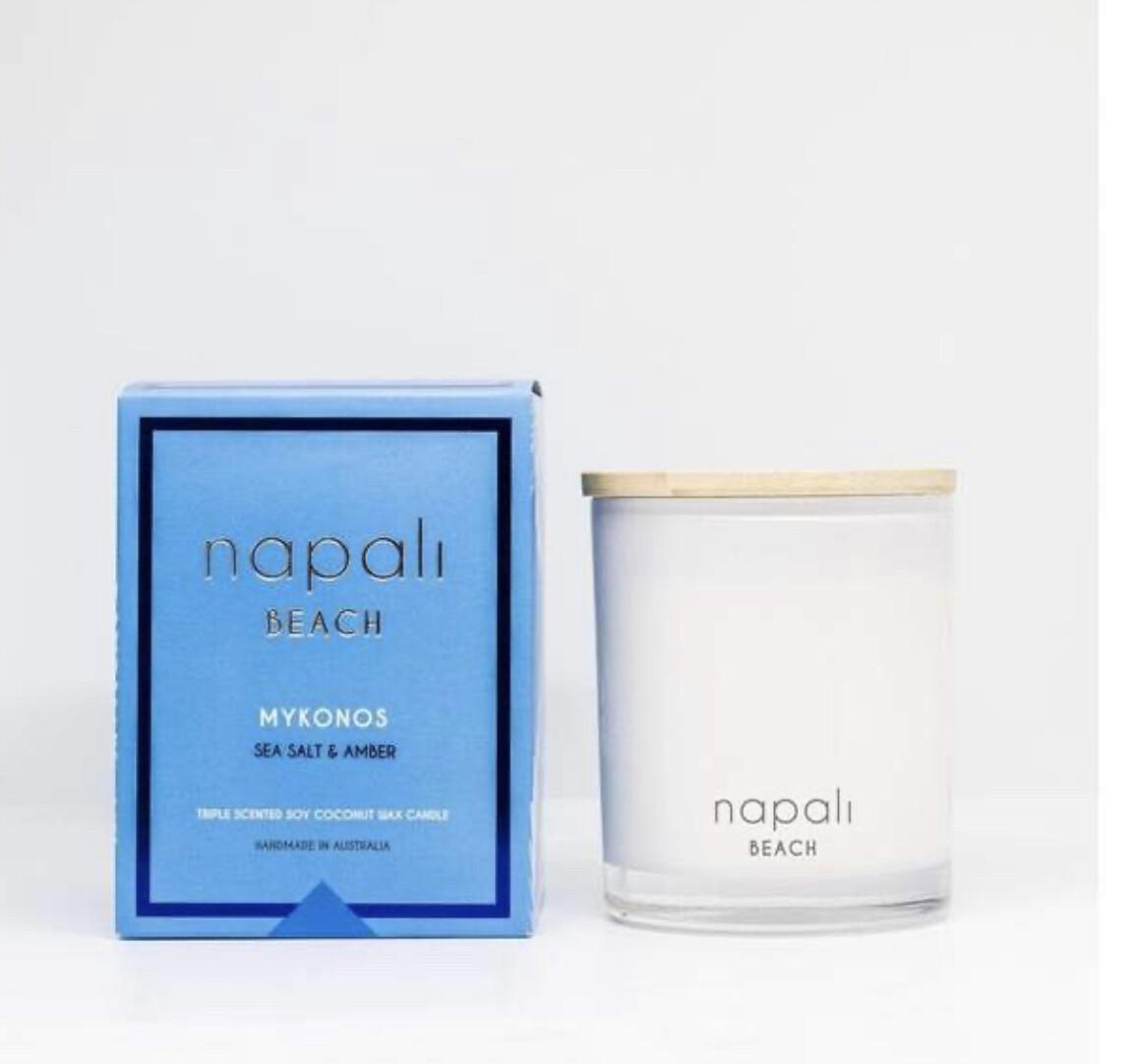 NAPALI  BEACH- MYKONOS-Soy/Coconut Wax Candle-Sea Salt & Amber - 160g