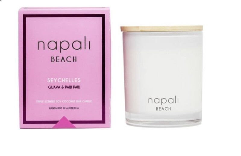 NAPALI BEACH- SEYCHELLES-Soy/Coconut Wax Candle-GUAVA/PAW PAW-400g