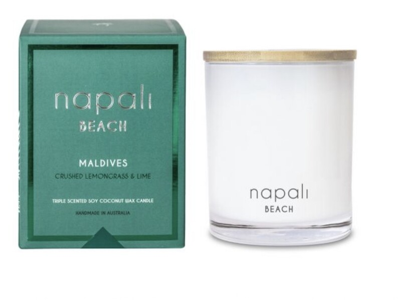 NAPALI BEACH-MALDIVES-Soy/Coconut Wax Candle- Crushed Lemongrass & Lime -400g