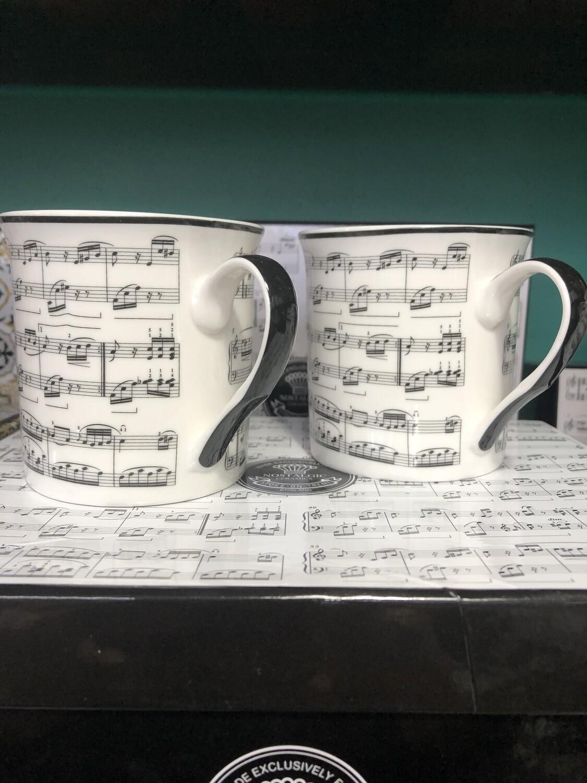 HERITAGE - Fine China Sheet Music Mug  Set Of 4 / Small