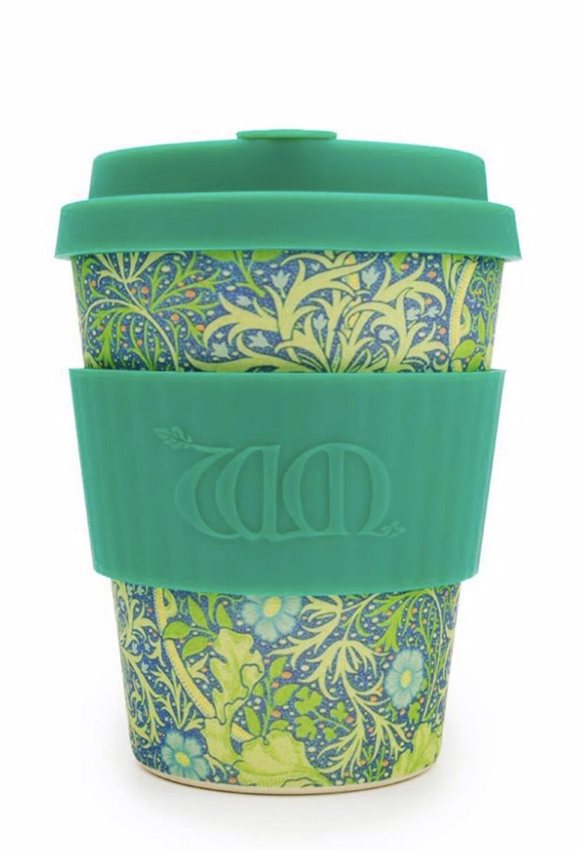 ECOFFEE -Re-usable Bamboo coffee  Cup- SEAWEED MARINE , 12 ounces