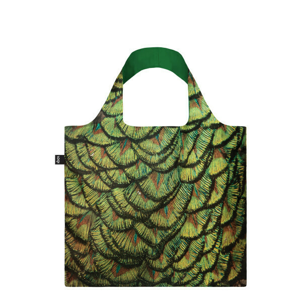 LOQI - Reusable Shopping Bag,  National Geographic Collection - Indian Peafowl