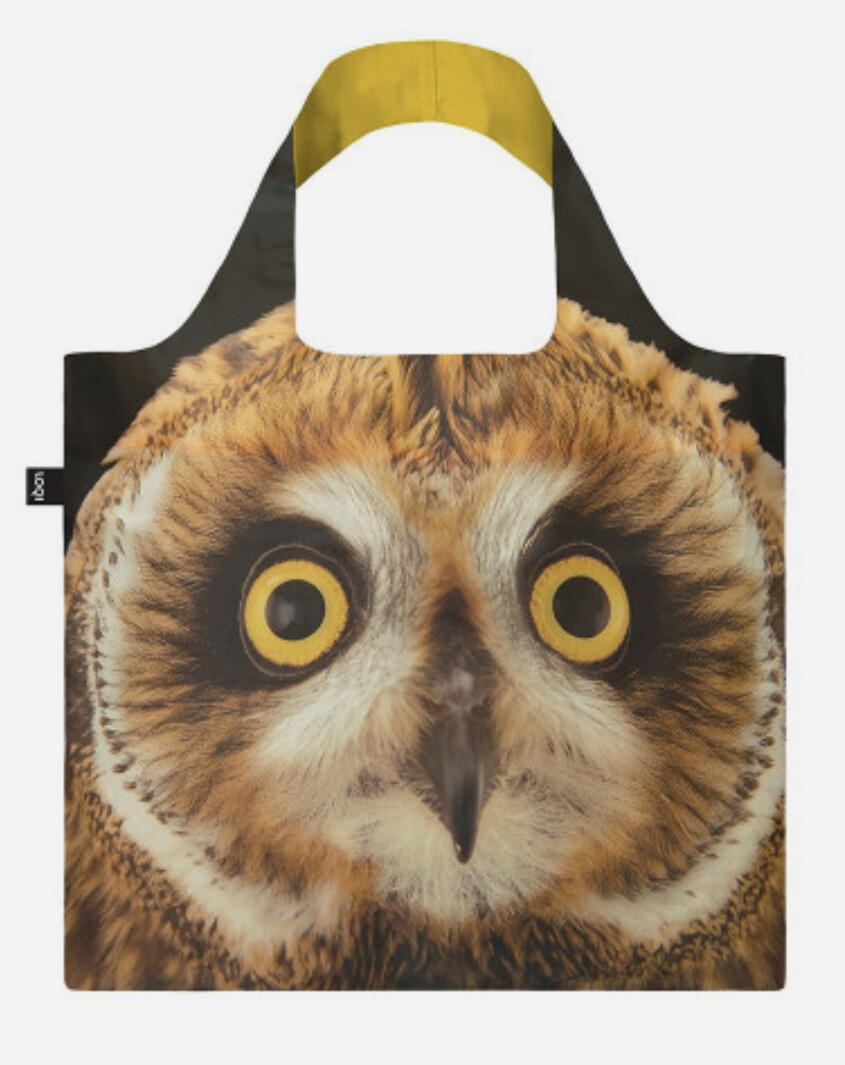 LOQI - Reusable Shopping Bag,  National Geographic Collection Short Eared Owl