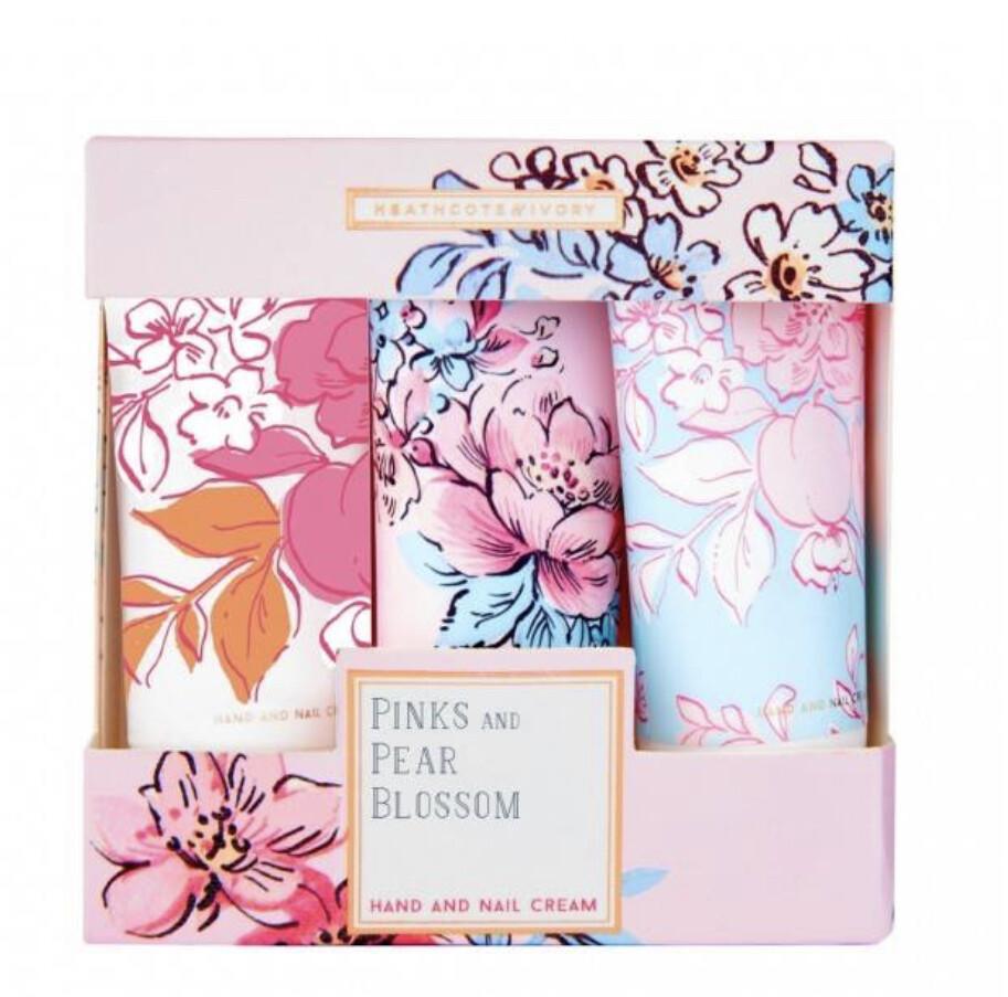 HEATHCOTE&IVORY -  Pinks and Pear Blossom Hand Cream Trio Contents 3 x 30ml Hand & Nail Cream