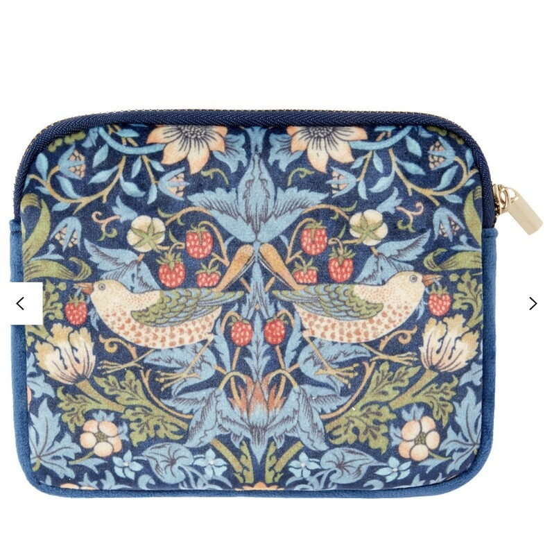 "MORRIS&Co - Velvet Coin Purse ""STRAWBERRY THIEF""-14cm(L)/11cm(H)"
