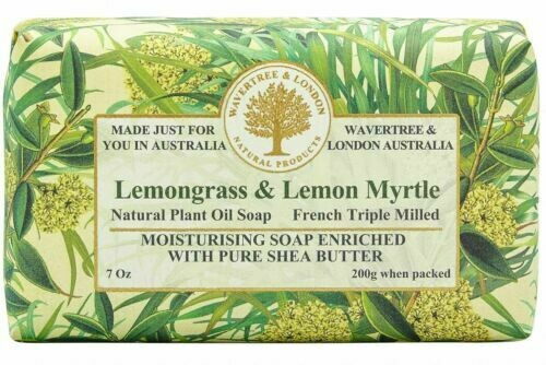 WAVERTREE&LONDON- Lemongrass & Lemon Myrtle Soap (enriched w. pure sheabutter-200g/7oz