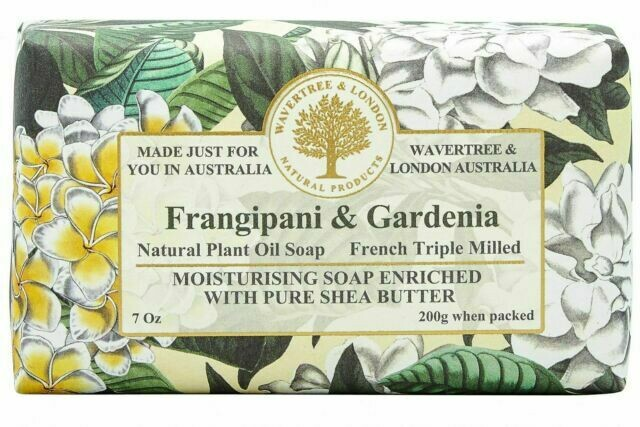 WAVERTREE&LONDON-SOAP-(enriched w. pure sheabutter)-FRANGIPANI/GARDENIA 200g/7oz