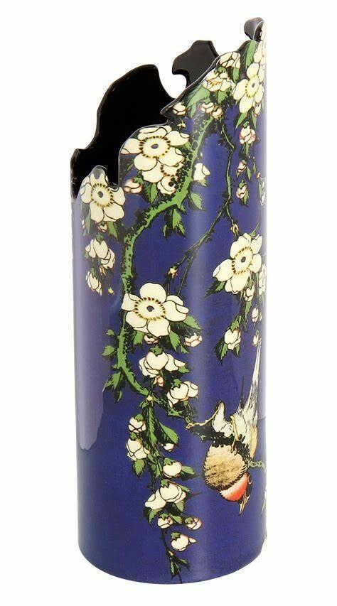 SILHOUETTE  D'ART - Hokusai Bird and Flowers Rich Blue Ceramic Art Vase-19cm