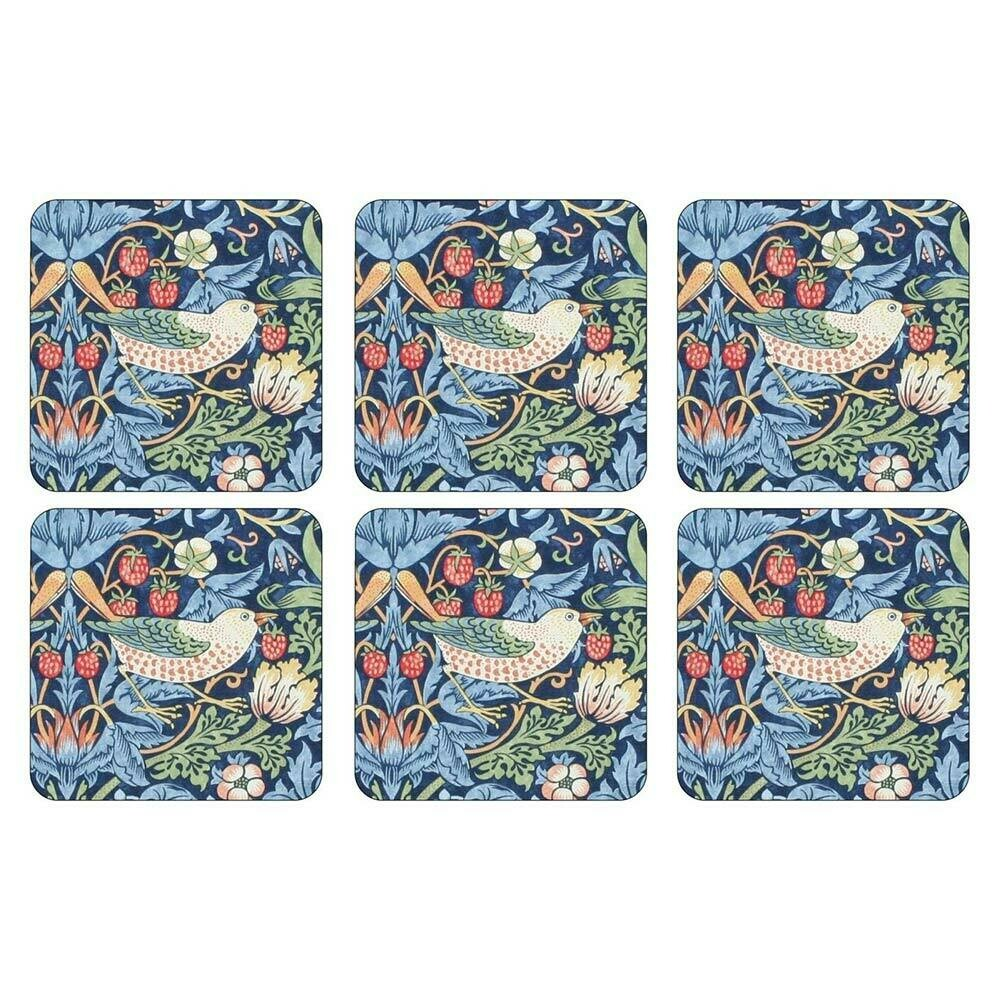 MORRIS&Co - PIMPERNEL Strawberry Thief Blue Coasters Set of 6 Cork Backed